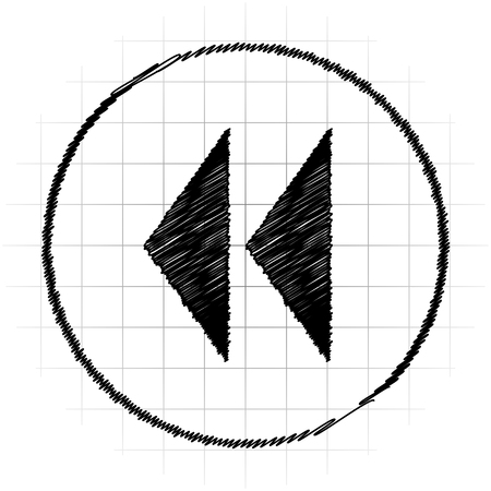Rewind icon. Internet button on white background. Stock Photo