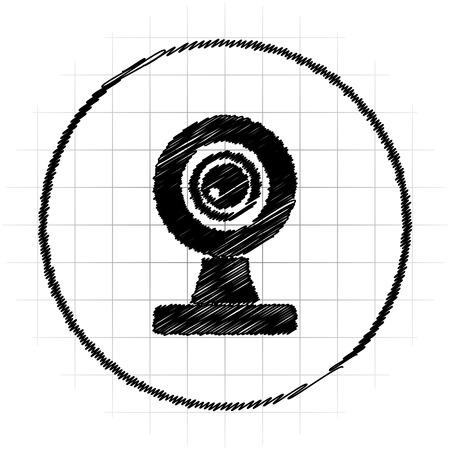 webcam: Webcam icon. Internet button on white background. Stock Photo