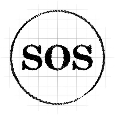 SOS icon. Internet button on white background. Stock Photo
