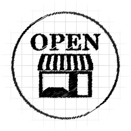 Open store icon. Internet button on white background. Stock Photo