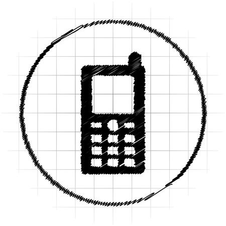 Mobile phone icon. Internet button on white background. Stock Photo