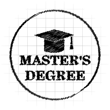 Masters degree icon. Internet button on white background.
