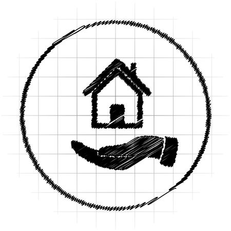 Hand holding house icon. Internet button on white background. Stock Photo