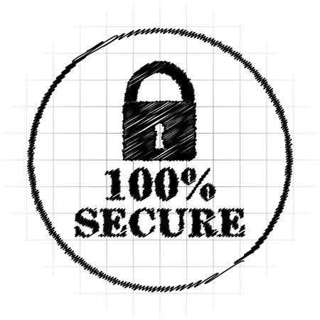 reliable: 100 percent secure icon. Internet button on white background. Stock Photo