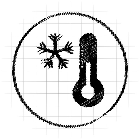 Snowflake with thermometer icon. Internet button on white background.