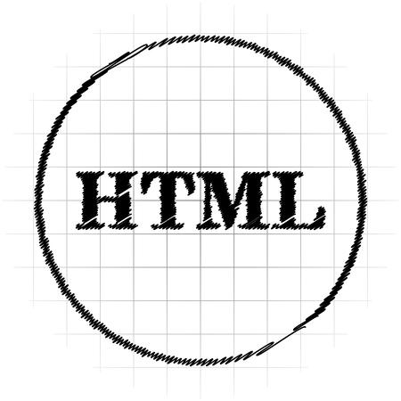 HTML icon. Internet button on white background.
