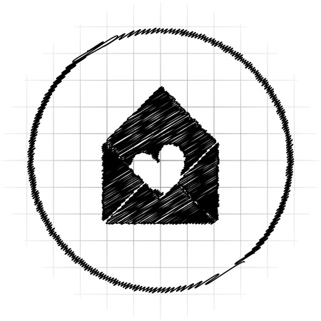 Send love icon. Internet button on white background.