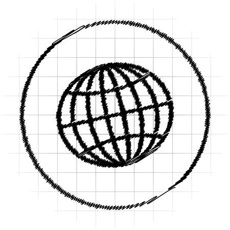Globe icon. Internet button on white background. Stock Photo
