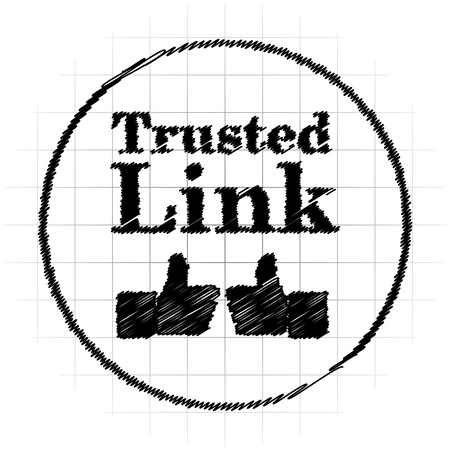 trusted: Trusted link icon. Internet button on white background.