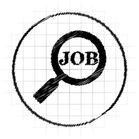 Search for job icon. Internet button on white background. Stock Photo