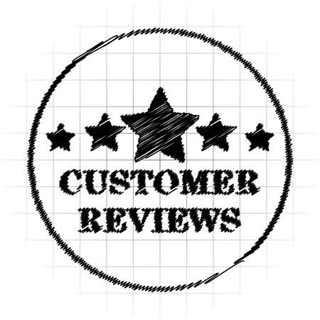 Customer reviews icon. Internet button on white background.