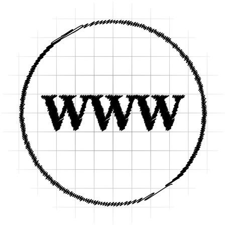 WWW icon. Internet button on white background. Stock Photo