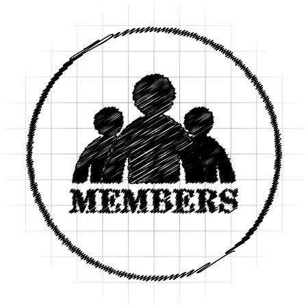 Members icon. Internet button on white background. Stock Photo