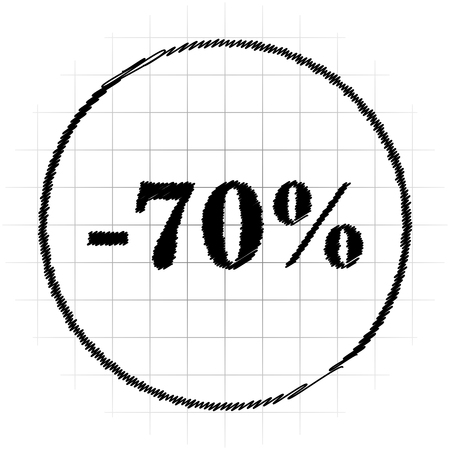 70 percent discount icon. Internet button on white background.