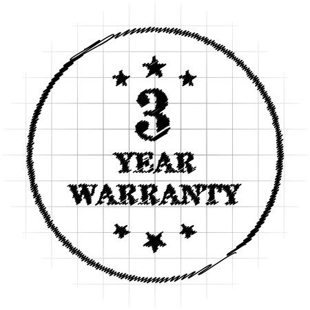 3 year warranty icon. Internet button on white background. Stock Photo