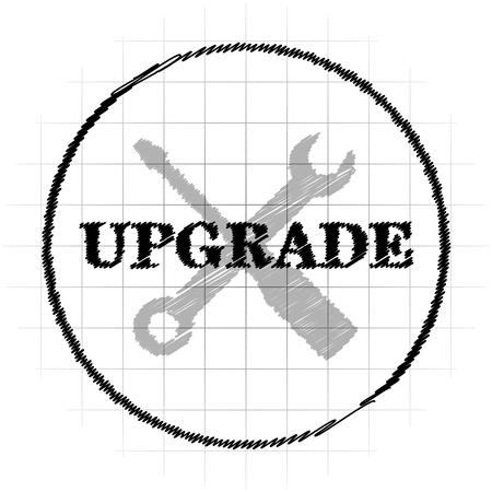 Upgrade icon. Internet button on white background.