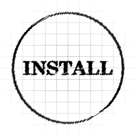 Install icon. Internet button on white background.