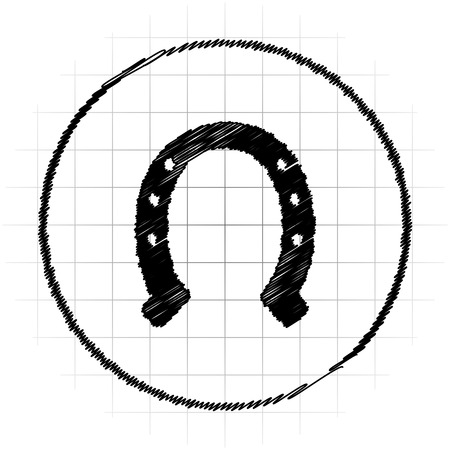 superstitious: Horseshoe icon. Internet button on white background.