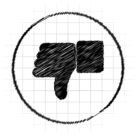 to refuse: Thumb down icon. Internet button on white background.