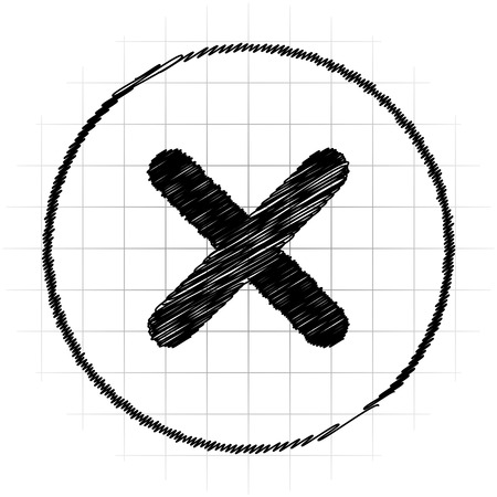 X close icon. Internet button on white background.