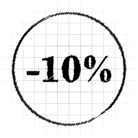 percent sign: 10 percent discount icon. Internet button on white background. Stock Photo
