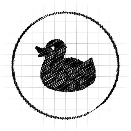 Duck icon. Internet button on white background.