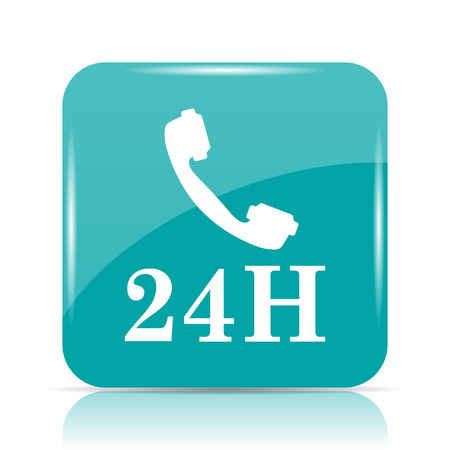 cyan business: 24H phone icon. Internet button on white background.