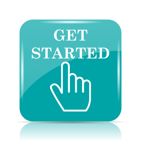 cyan business: Get started icon. Internet button on white background.