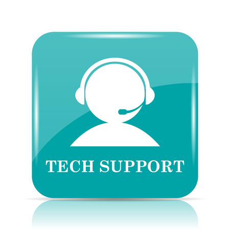 Tech support icon. Internet button on white background.