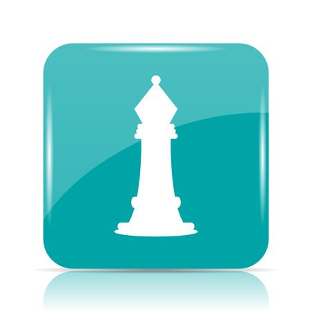 cyan business: Chess icon. Internet button on white background.
