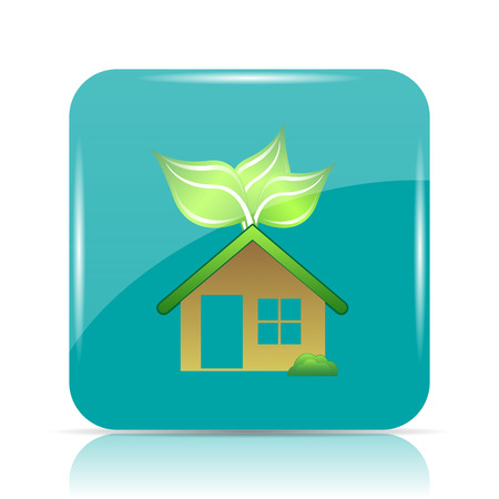Eco house icon. Internet button on white background. Stock Photo
