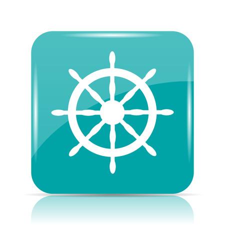 docks: Nautical wheel icon. Internet button on white background.