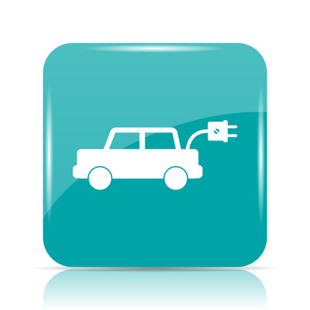 cyan business: Electric car icon. Internet button on white background. Stock Photo