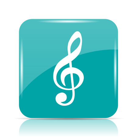 cyan business: Musical note icon. Internet button on white background.