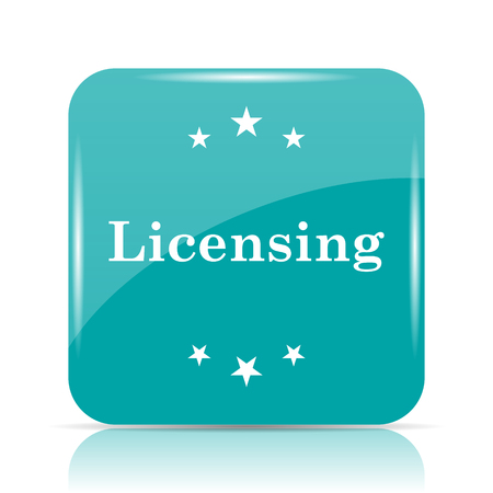cyan business: Licensing icon. Internet button on white background.