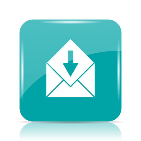 Receive e-mail icon. Internet button on white background.