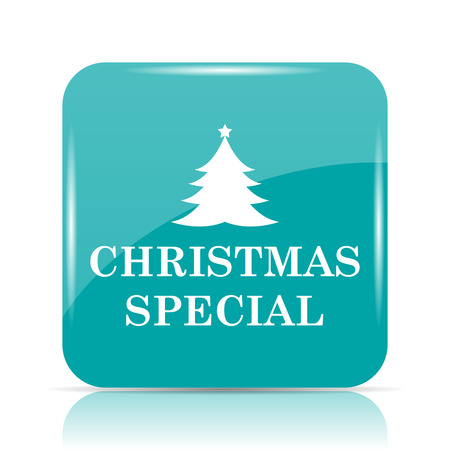 cyan business: Christmas special icon. Internet button on white background.