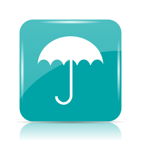 cyan business: Umbrella icon. Internet button on white background.