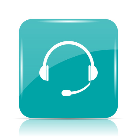 cyan business: Headphones icon. Internet button on white background. Stock Photo