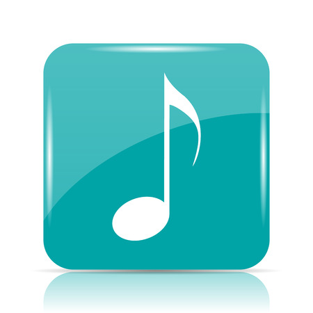 melodic: Musical note icon. Internet button on white background.