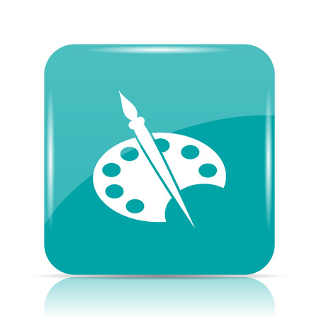 cyan business: Painting icon. Internet button on white background. Stock Photo
