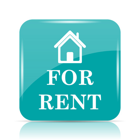 cyan business: For rent icon. Internet button on white background. Stock Photo