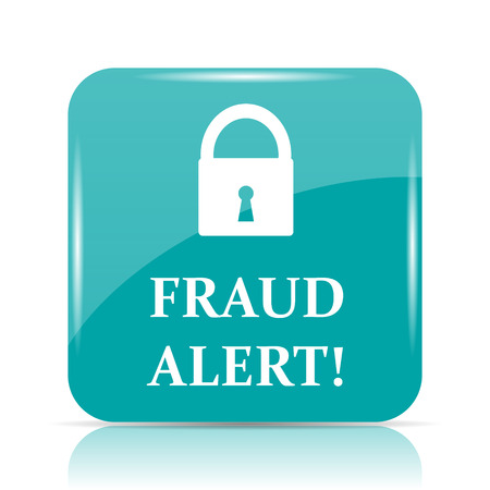Fraud alert icon. Internet button on white background.