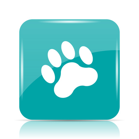 dog walking: Paw print icon. Internet button on white background. Stock Photo