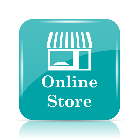 mall signs: Online store icon. Internet button on white background. Stock Photo