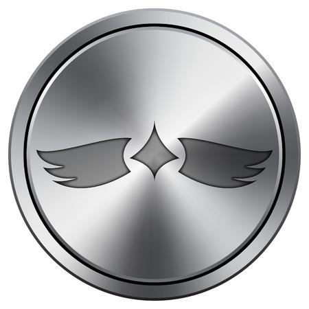 pacification: Wings icon. Internet button on white background. Metallic round icon.