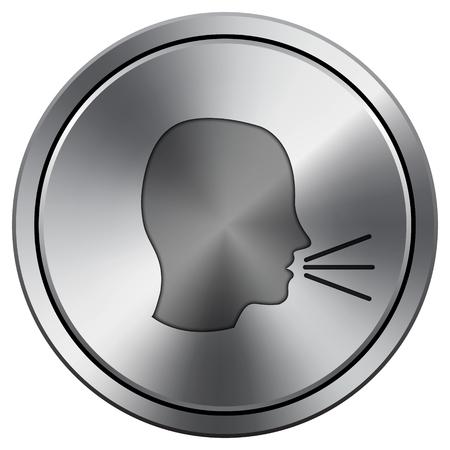 noisily: Talking icon. Internet button on white background. Metallic round icon.