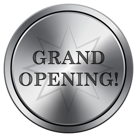 grand sale button: Grand opening icon. Internet button on white background. Metallic round icon. Stock Photo