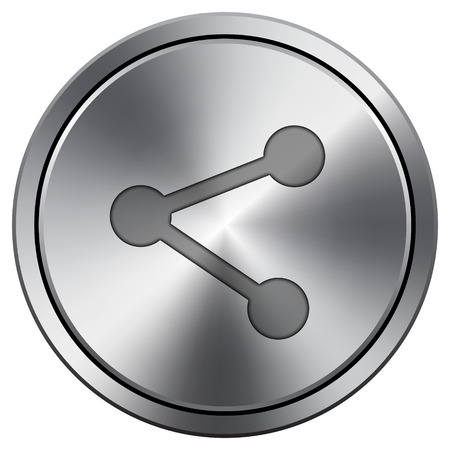 Social media - link icon. Internet button on white background. Metallic round icon. Stock Photo