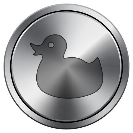 Duck icon. Internet button on white background. Metallic round icon. Stock Photo